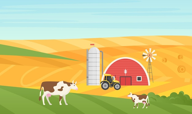 Eco aldea rural paisaje rural de vacas pastando en el prado casa granero tractor agrícola