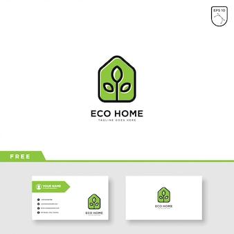 Eco casa logo vector y plantilla de tarjeta de visita
