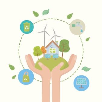 Eco ciudad y diseño de salvar planeta.