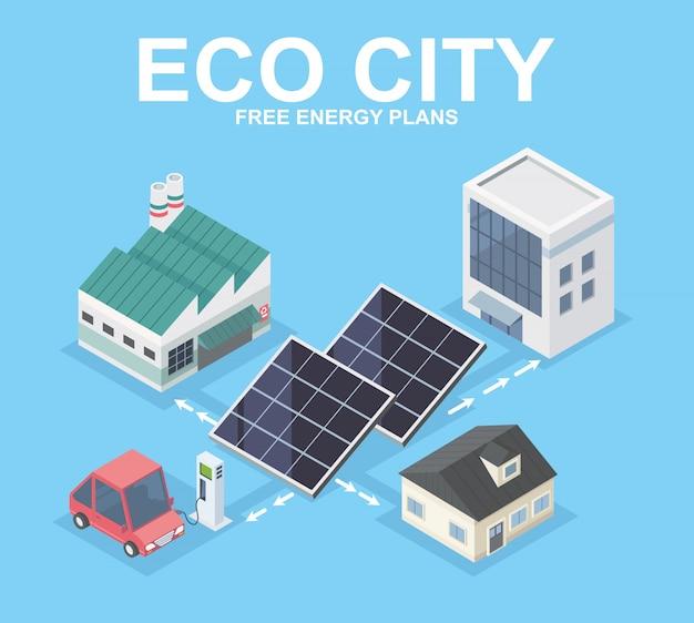 Eco ciudad energía limpia isométrica diseñada