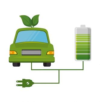Eco coche hojea diseño aislado en estilo plano
