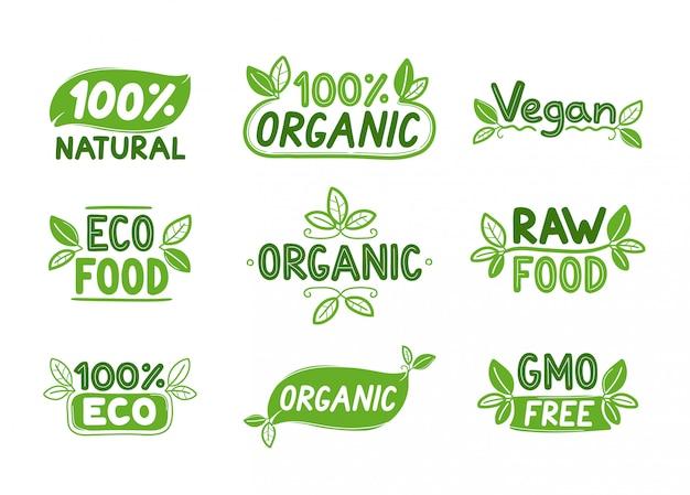 Eco, comida orgánica, logotipos o letreros veganos.