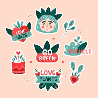 Eco dibujado a mano insignias flores y hojas