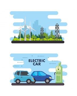Eco estación con diseño de vectores de torres y molinos de viento de coches