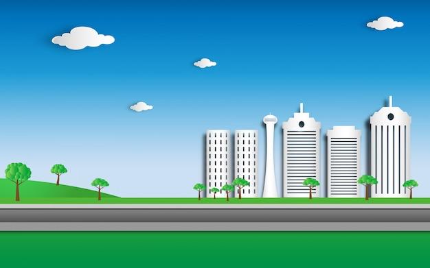Eco green city en papel cortado estilo