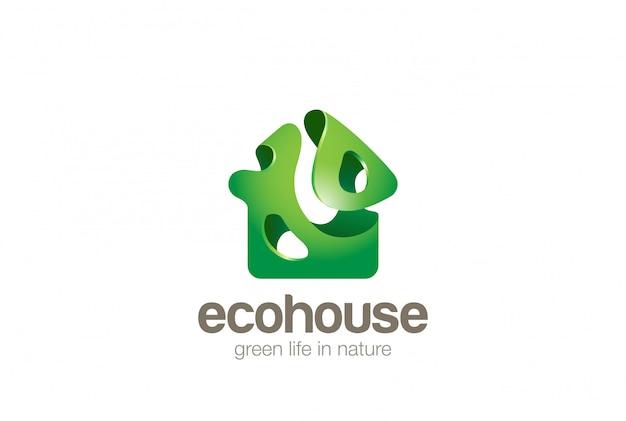 Eco green house logo plantilla de diseño estilo bionic splash. icono de concepto de logotipo de bio ecología inicio.