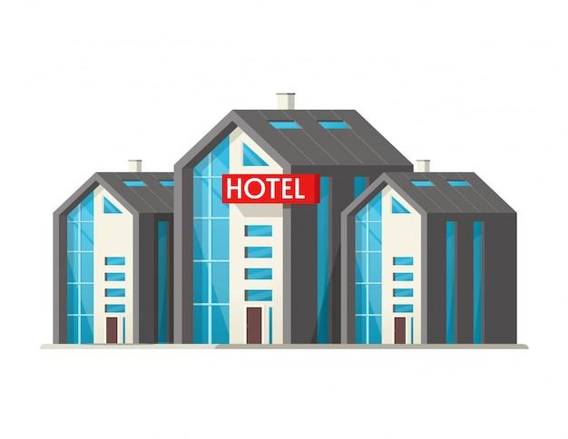 Eco hotel vector edificio grande aislado sobre fondo blanco.