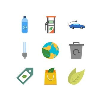 Eco iconos aislados en blanco