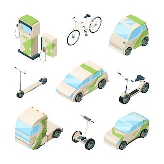 Eco transporte. coches scooter eléctrico bicicletas de skate gyrocopter bus isométrico ecología técnicas fotos