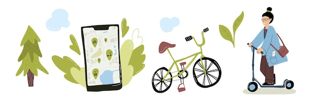 Eco urban city transport set mujer montando patinete eléctrico aplicación de servicio de alquiler de bicicletas