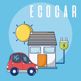 Ecocar cargando en casa con enchufe