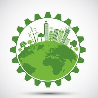 Ecología ahorro concepto de engranaje y desarrollo sostenible de energía ambiental