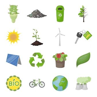 Ecología y bio conjunto de iconos de dibujos animados. ecología verde aislado conjunto de iconos de dibujos animados. ilustración bio y orgánica.