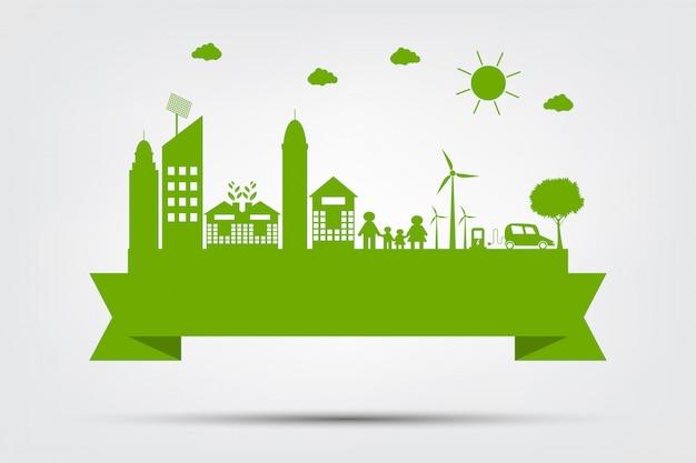 Ecología ciudad concepto y medio ambiente con ideas ecológicas.