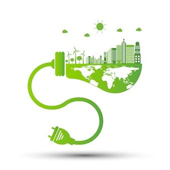Ecología y concepto ambiental, símbolo de la tierra con hojas verdes alrededor de las ciudades ayuda al mundo con ideas ecológicas, ilustración vectorial