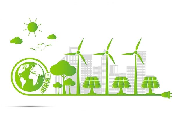 Ecología y concepto ambiental, el símbolo de la tierra con hojas verdes alrededor de las ciudades ayuda al mundo con ideas ecológicas