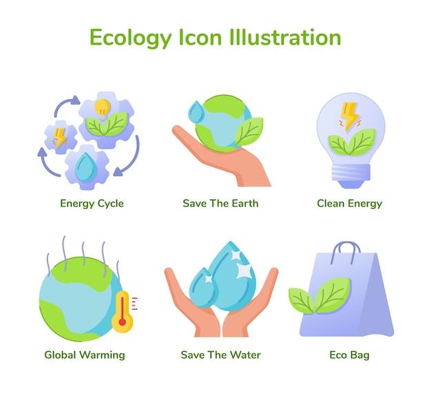 Ecología conjunto de iconos ciclo de energía de colección ahorrar tierra energía limpia calentamiento global