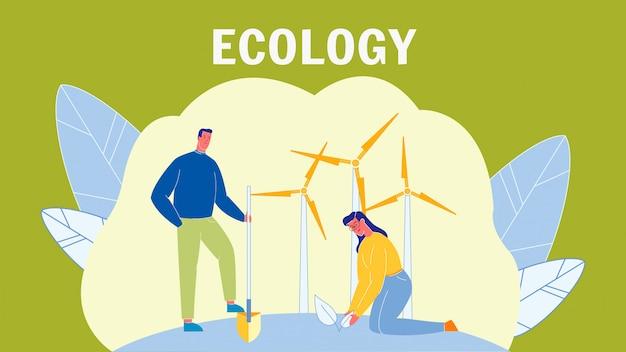 Ecología, cuidado del medio ambiente vector banner con texto