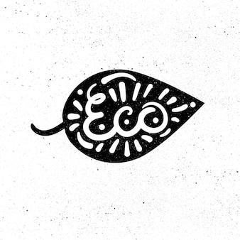 Ecología dibujada a mano y letras naturales 100 por ciento. diseño ecológico.