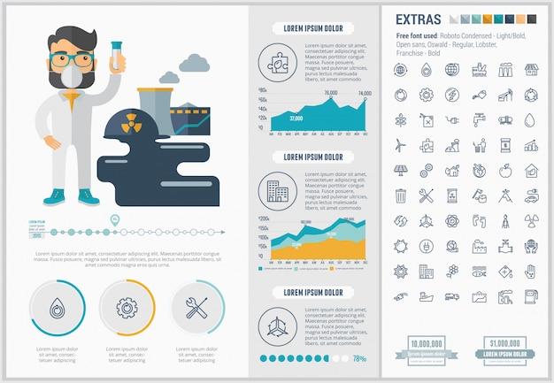 Ecología diseño plano infografía plantilla e iconos conjunto