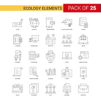 Ecología elementos icono de línea negra