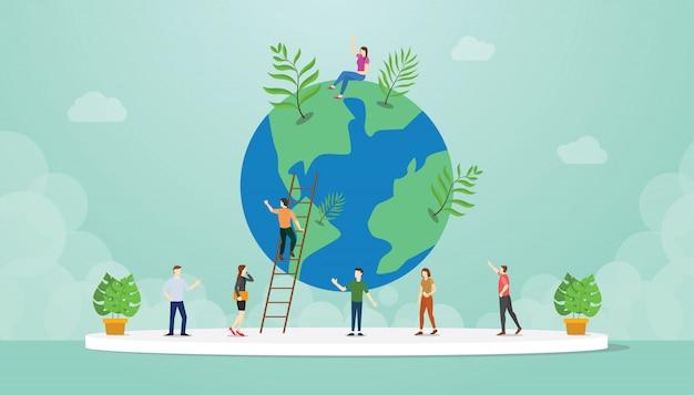 Ecología entorno mundial con personas y crecimiento mundial de árboles con estilo plano moderno