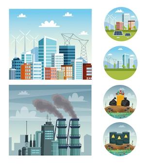 Ecología escenas de contaminación de la ciudad y la industria