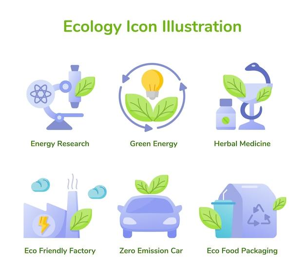 Ecología icono ilustración investigación energética energía verde medicina herbaria ecológica