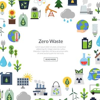 Ecología iconos planos, medio ambiente ecología, energía natural y cero residuos.