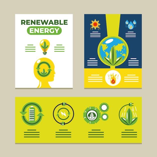 Ecología de infografía de energías renovables, ilustración de desarrollo sostenible