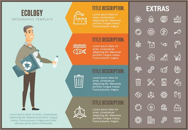 Ecología infografía plantilla, elementos e iconos