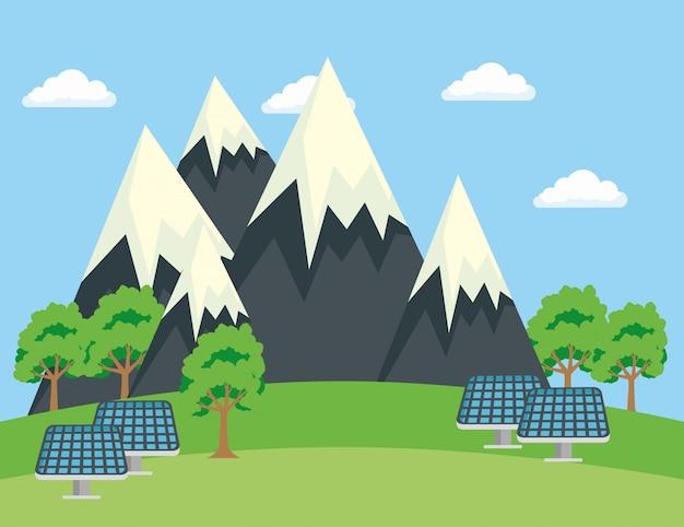 Ecología montañas nevadas con árboles y energía solar.