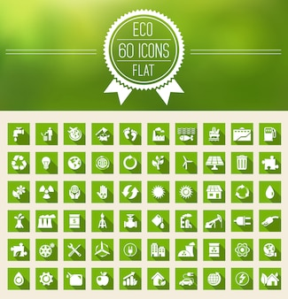Ecología plana icon set
