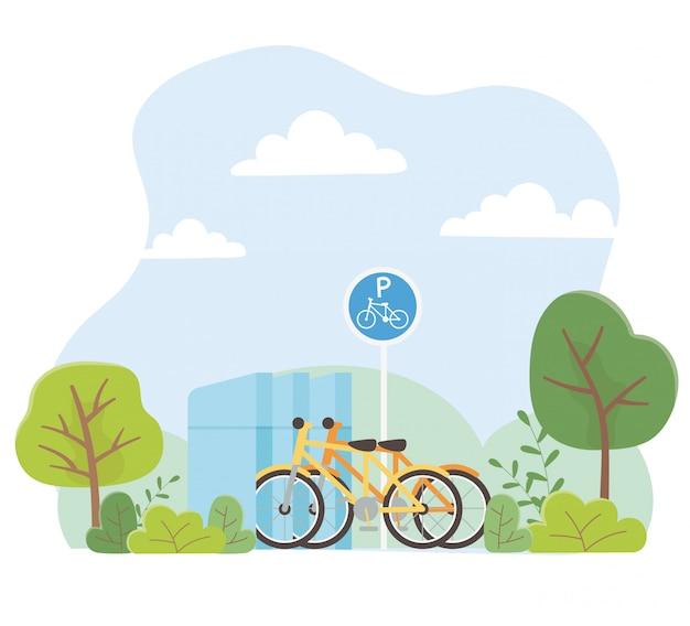 Ecología urbana estacionamiento bicicletas transporte parque árboles naturaleza