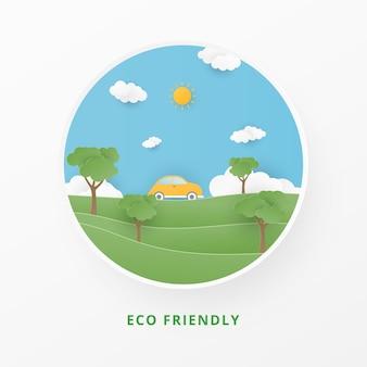Ecología vectorial y medio ambiente con coche, árbol, sol y nubes.