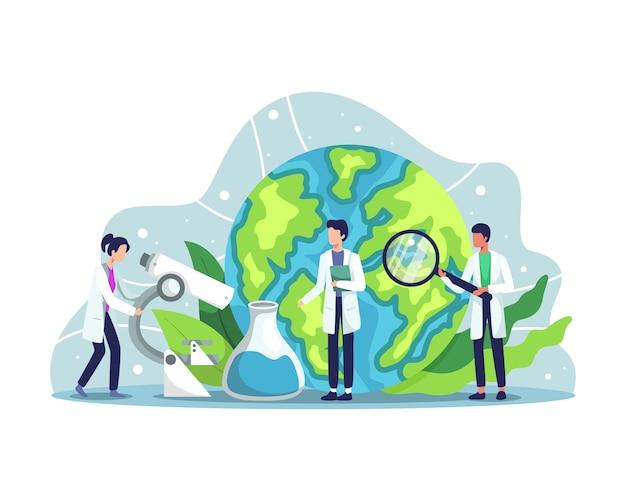 Ecologista cuidando la tierra y la naturaleza. científico que cuida la naturaleza y estudia el medio ambiente ecológico. activista ecológico, protección del aire, suelo y agua. en un estilo plano