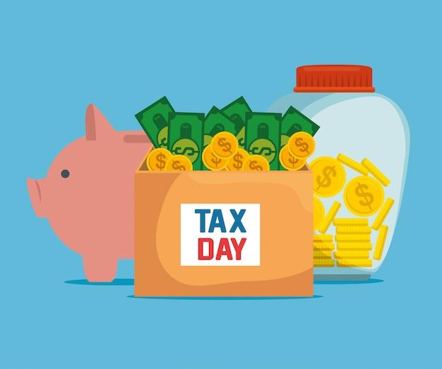 Economi facturas con monedas y dinero seguro de cerdo