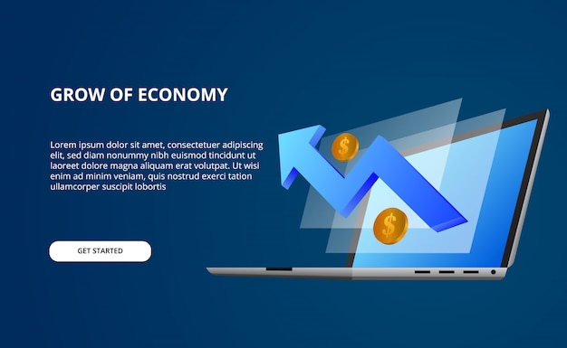 Economía de crecimiento por datos con ilustración 3d de computadora portátil en perspectiva y pantalla con flecha alcista azul y dinero dorado