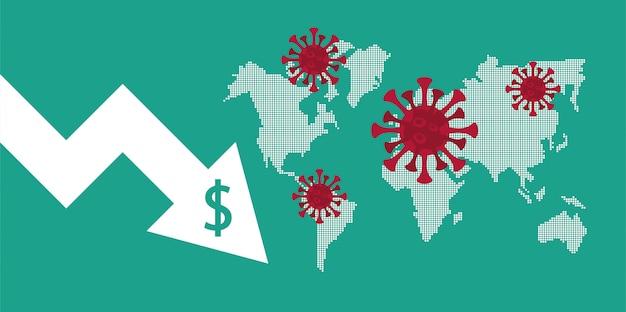 Economía y estadísticas con flechas en mapas de la tierra