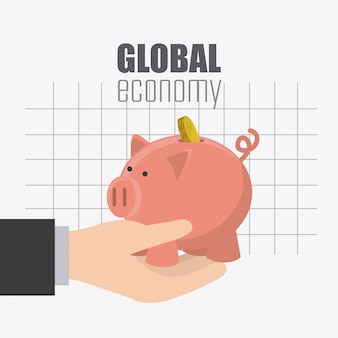 Economía global, dinero y diseño de negocios.