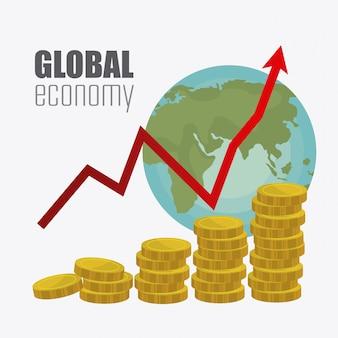 Economía global, dinero y negocio.