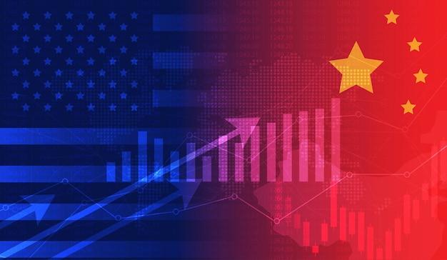 Economía de guerra comercial estados unidos américa y china gráfico de velas de bandera bolsa de valores y gráfico gráfico