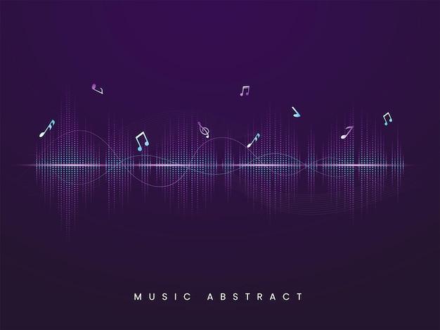 Ecualizador abstracto fondo púrpura con notas musicales.