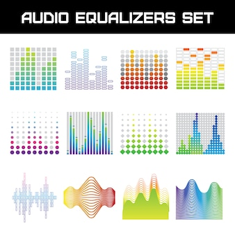 Ecualizador de audio brillante con ilustración de vector aislado plano de símbolos de ondas de sonido