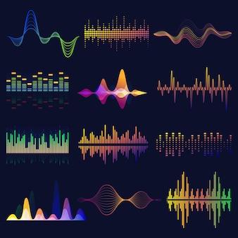 Ecualizador de audio, conjunto de ondas de sonido. frecuencia de voz, elementos del espectro.