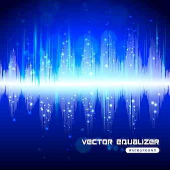 Ecualizador azul en el cartel de fondo oscuro
