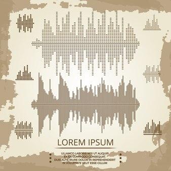 Ecualizador y cartel de ondas sonoras vintage