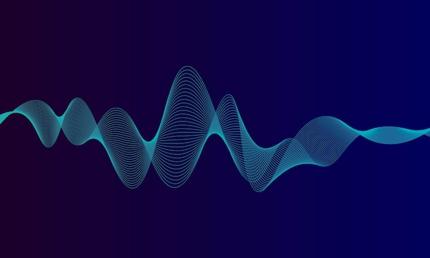 Ecualizador digital azul abstracto, de elemento de patrón de onda de sonido