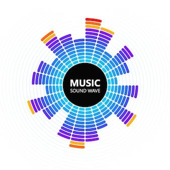 Ecualizador de música de color radial aislado sobre fondo blanco.