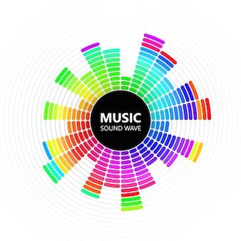 Ecualizador de música de color radial sobre fondo blanco, ilustración